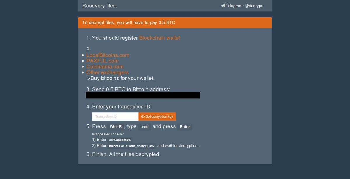 BTCWare ransom note